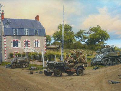Takhle zachytil malíř místo zvané Dead man's corner ve stavu, jak asi vypadalo v červnu 1944.